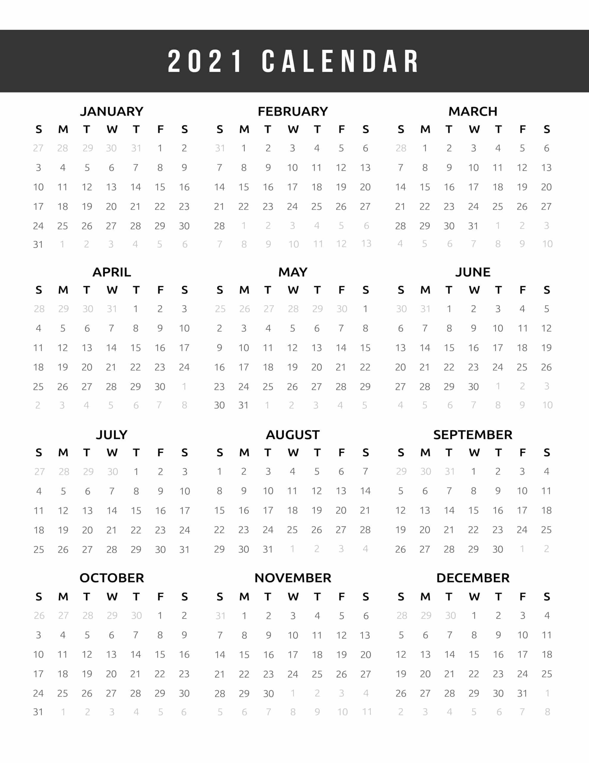 Calendar 2021 Printable One Page - World Of Printables  Easy To Print 2021 Calendar