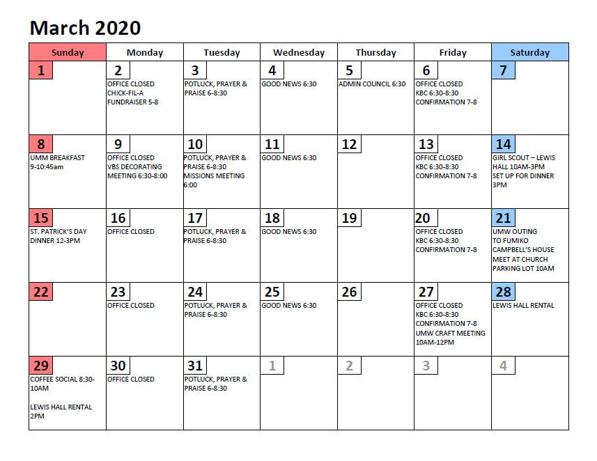 Calendar - Arbutus United Methodist Church  United Methodist Yearly Calendar