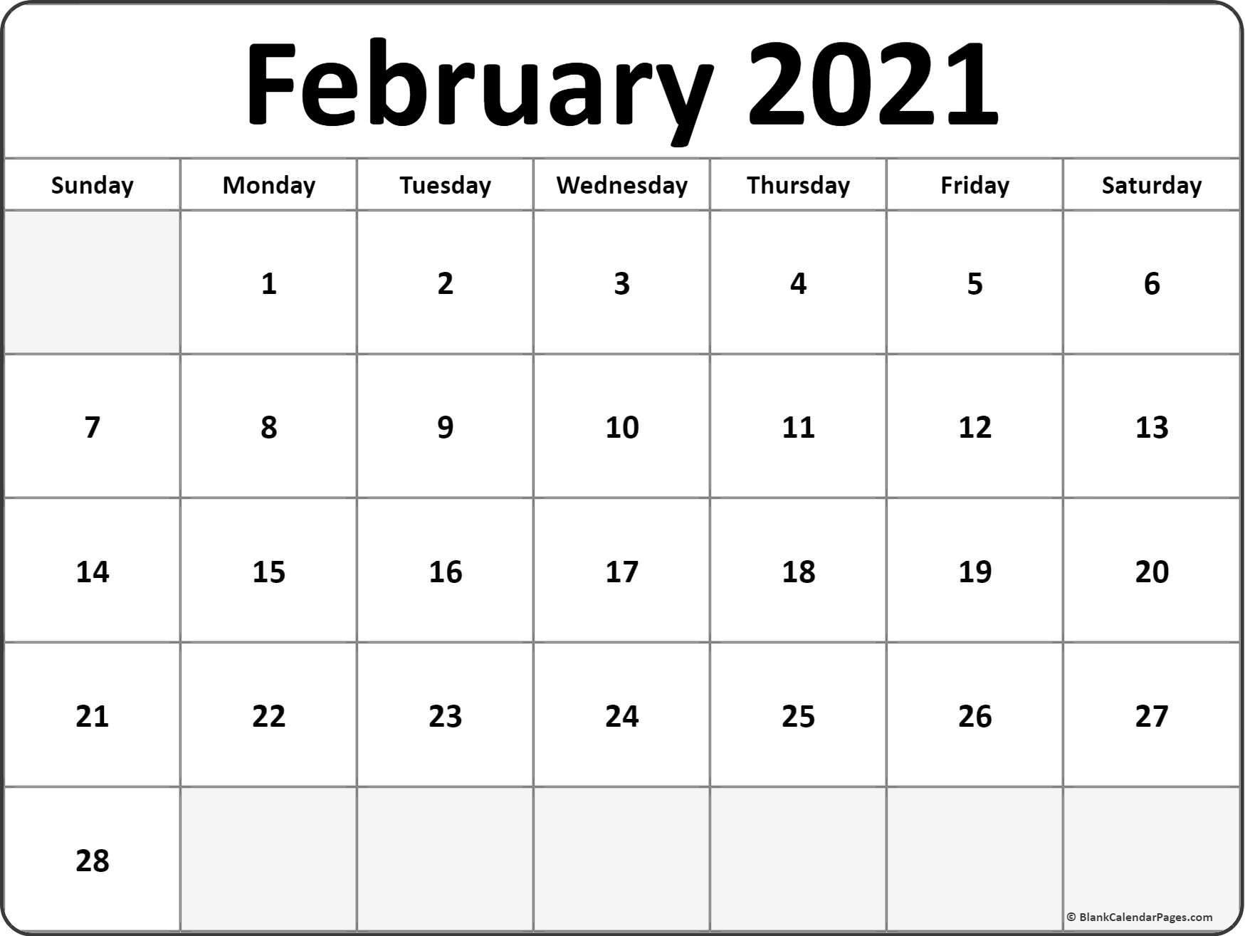 Calendar February 2021 Editable Planner   Free Printable  Blank 2021 2021 Calendar Template