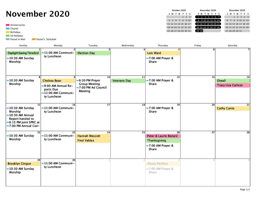 Calendar - Grace United Methodist Church  Methodist Calendar