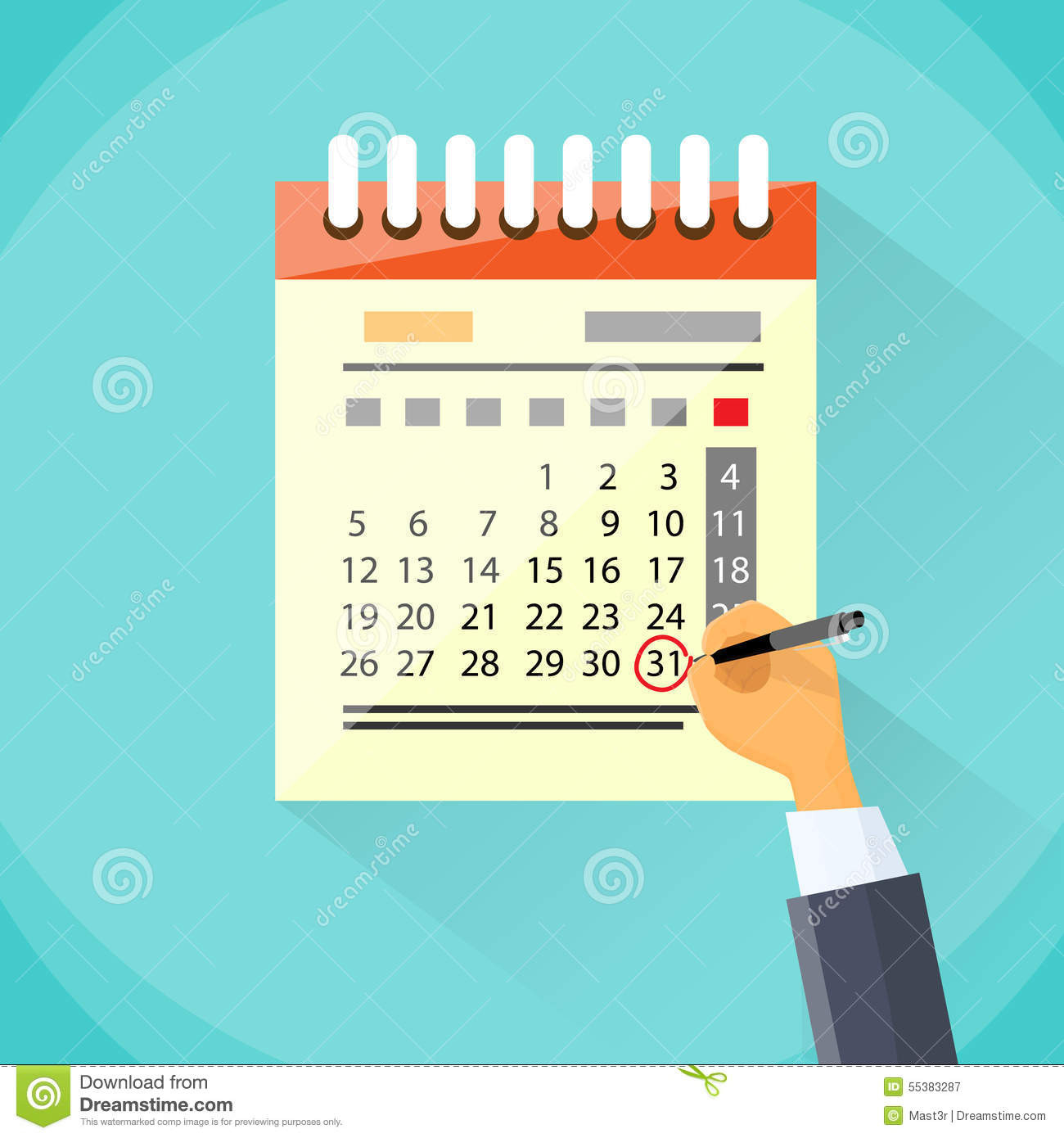 Calendar Hand Draw Pen Red Circle Date Last Day Stock  Calender Last Financial Year