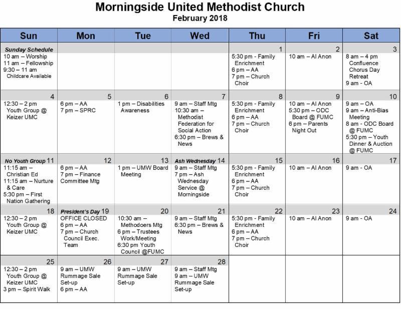 Calendar | Morningside United Methodist Church  United Methodist Yearly Calendar