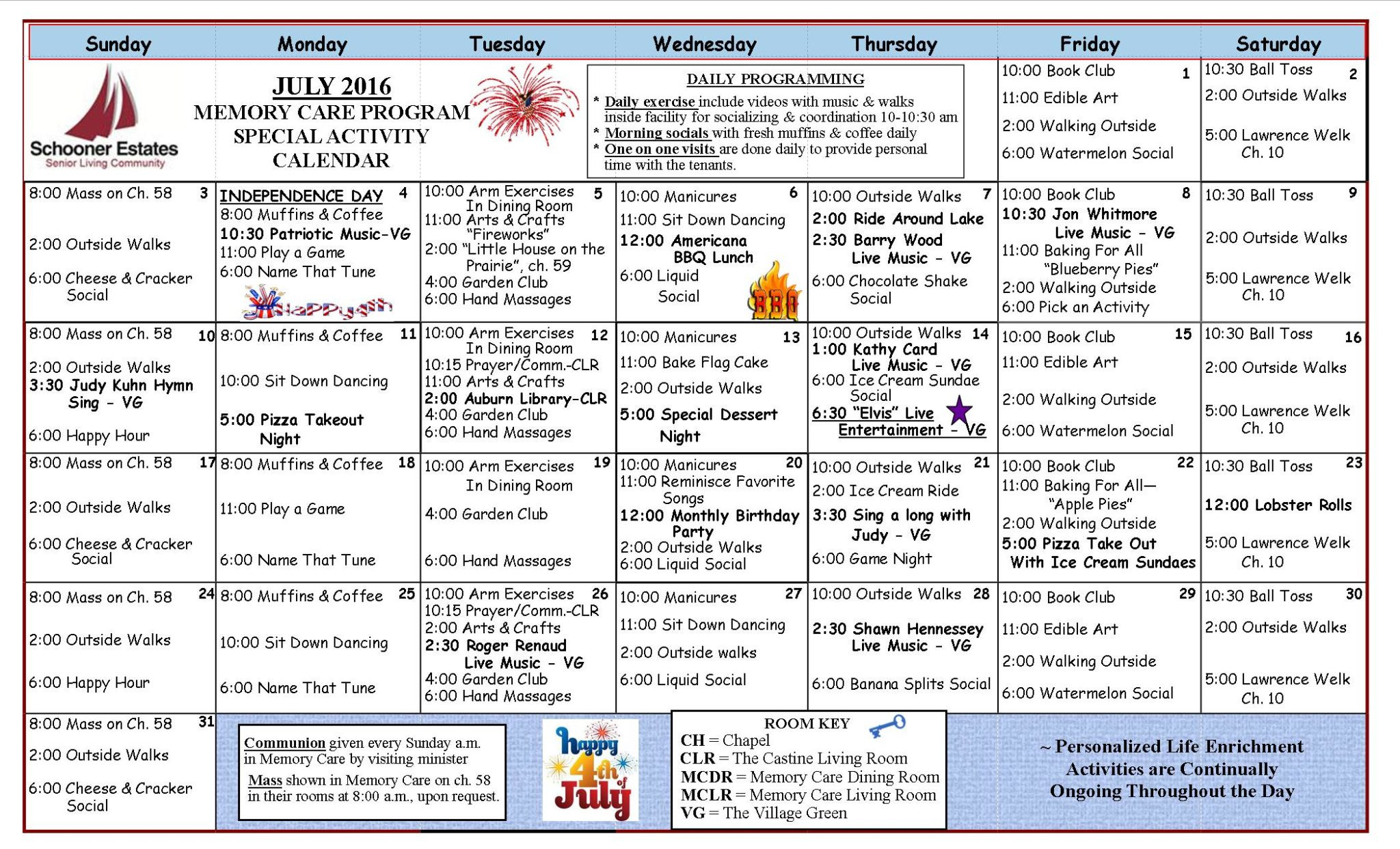 Calendar Of Events  Toddleer Calendar Daily Activties For June July August