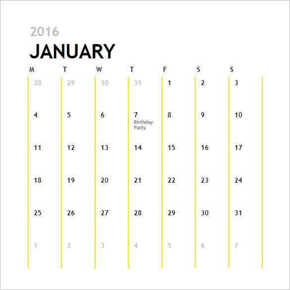 Calendar Template - 41+ Free Printable Word, Excel, Pdf  12-Month Calendar Template