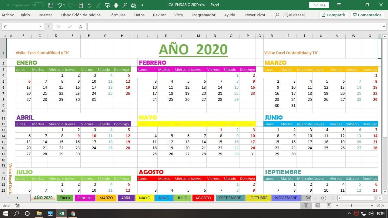 Calendario 2020 En Excel | Hojas De Cálculo, Hoja De  Calendario Por Mes2021