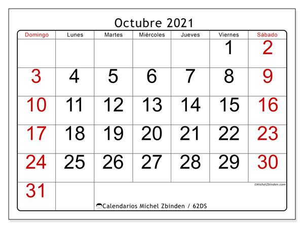 "Calendario ""62Ds"" Octubre De 2021 Para Imprimir - Michel  Calendario Por Mes2021"