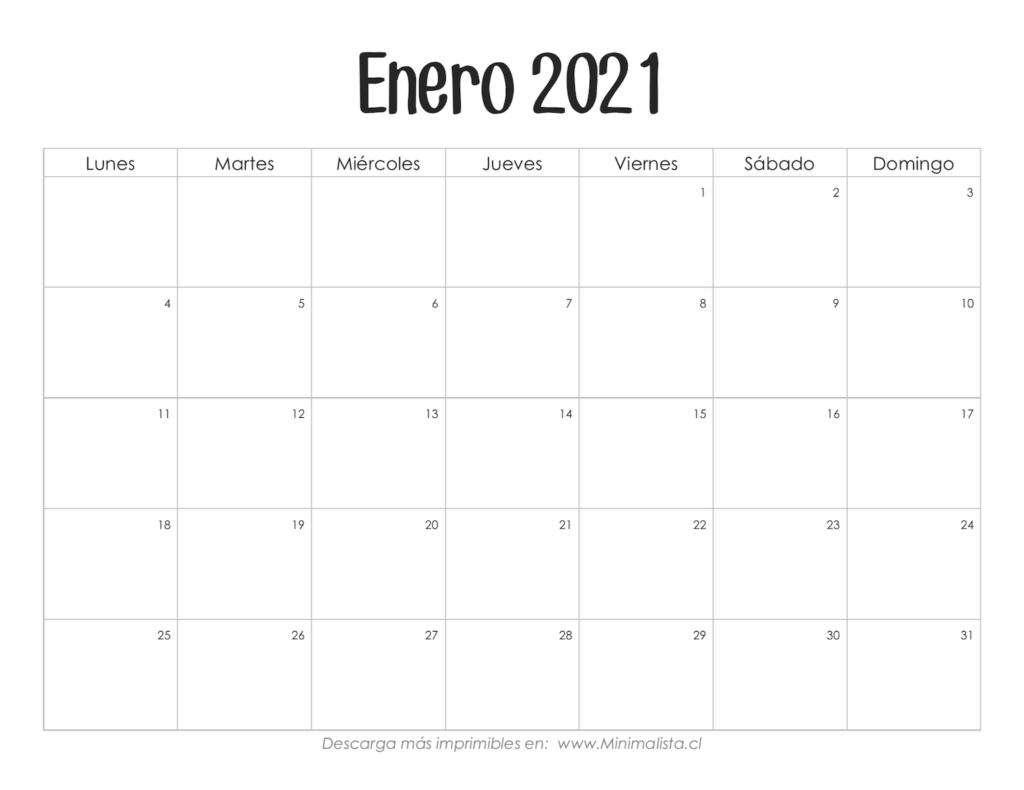 Calendarios 2021 Para Imprimir - Minimalista  Calendario Por Mes2021