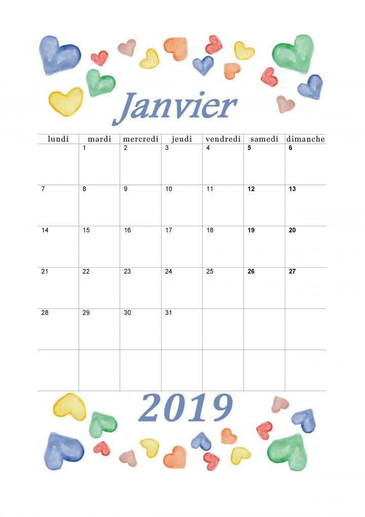 Calendrier Mensuel 2019 : Mois De Janvier | Calendrier  Mois De L'Année Telecharger Mensuel Gratuit