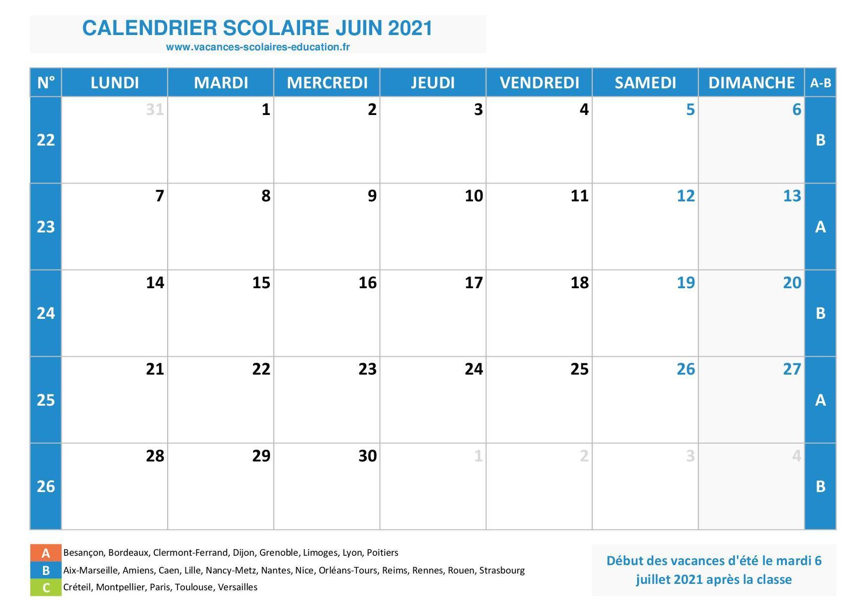 Calendrier Mensuel Scolaire : Mois De Juin 2021  Mois De L'Année Telecharger Mensuel Gratuit