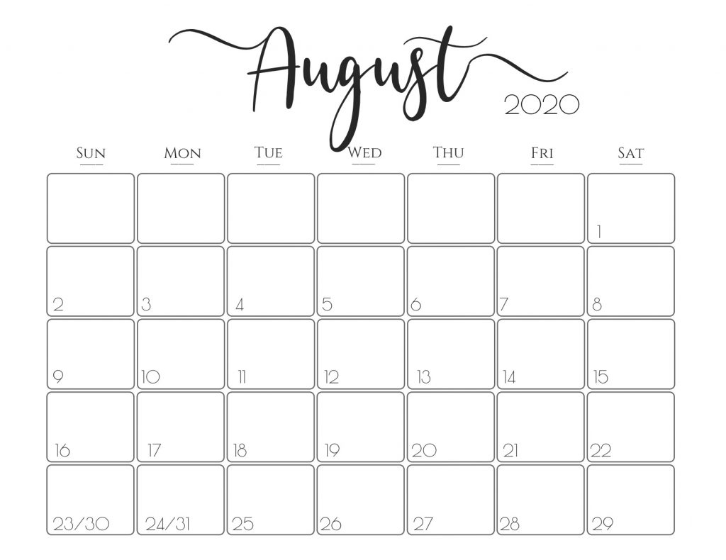 Catch Print Free Calendars Without Downloading August 2020  Blank Monthly Calendar Printable Free Without Downloading