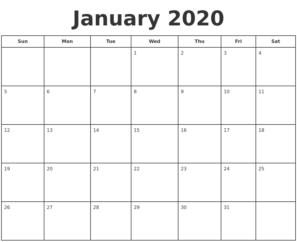Collect 2020 Print Free Calendars Without Downloading  Blank Monthly Calendar Printable Free Without Downloading