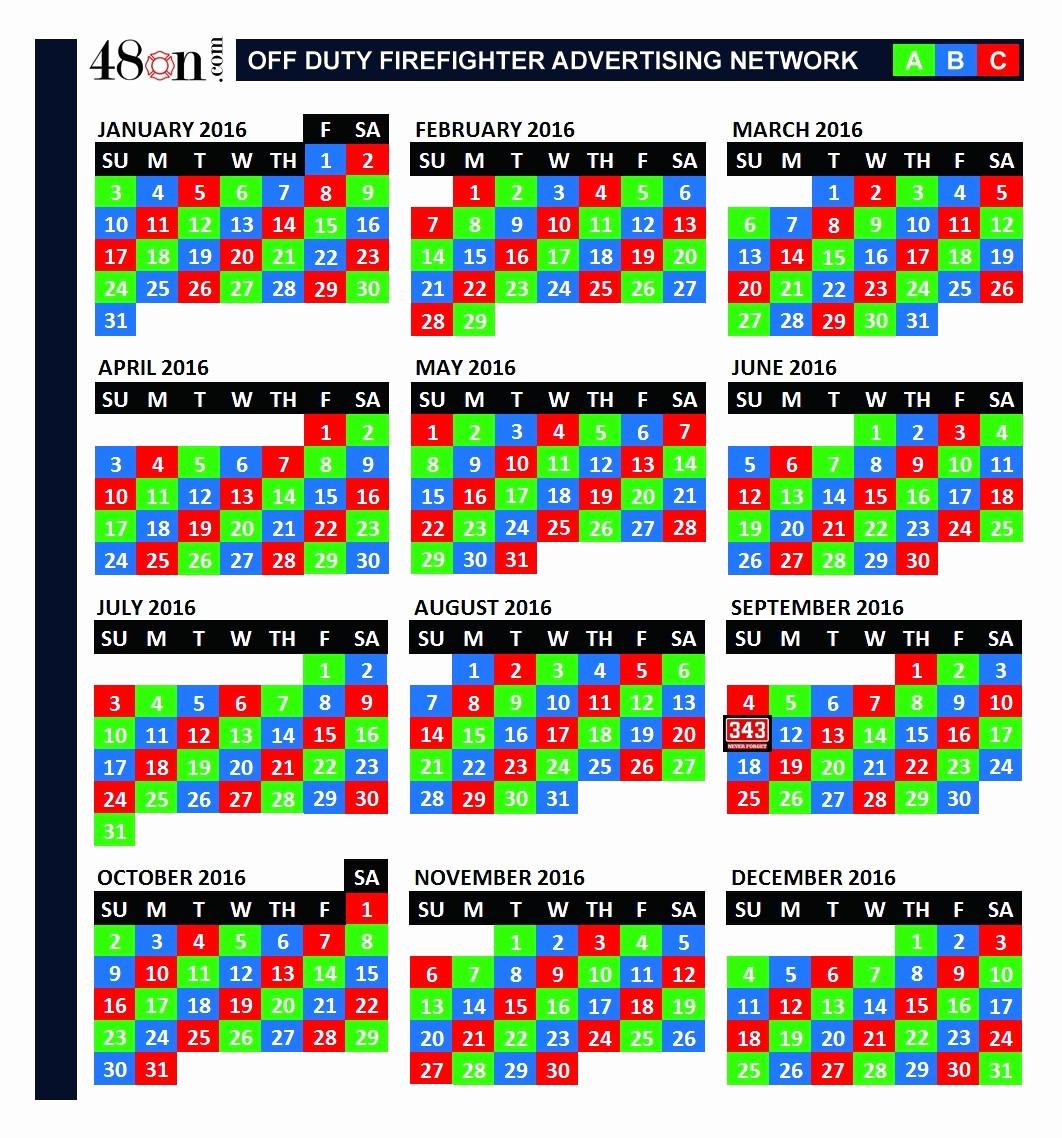 Collect Printable Firefighter Shift Calendar | Calendar  Fdny Shift Schedule