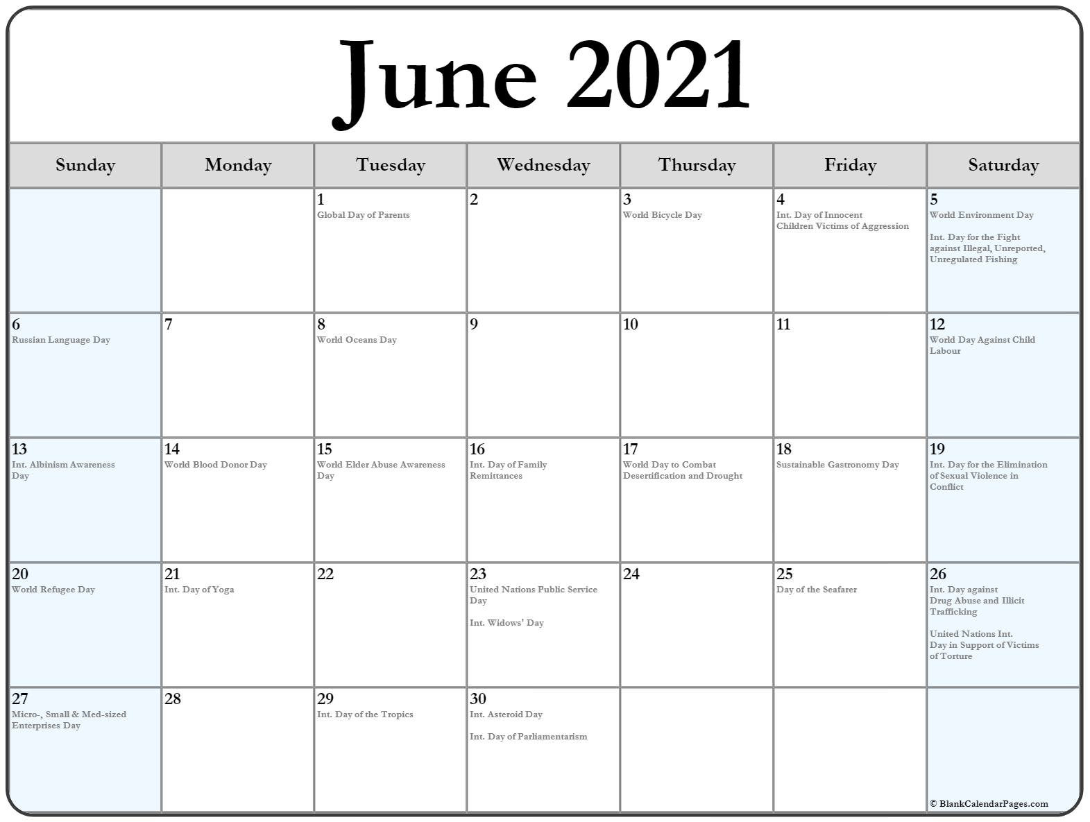 Collection Of June 2021 Calendars With Holidays  June 2021-June 2021 Calendar