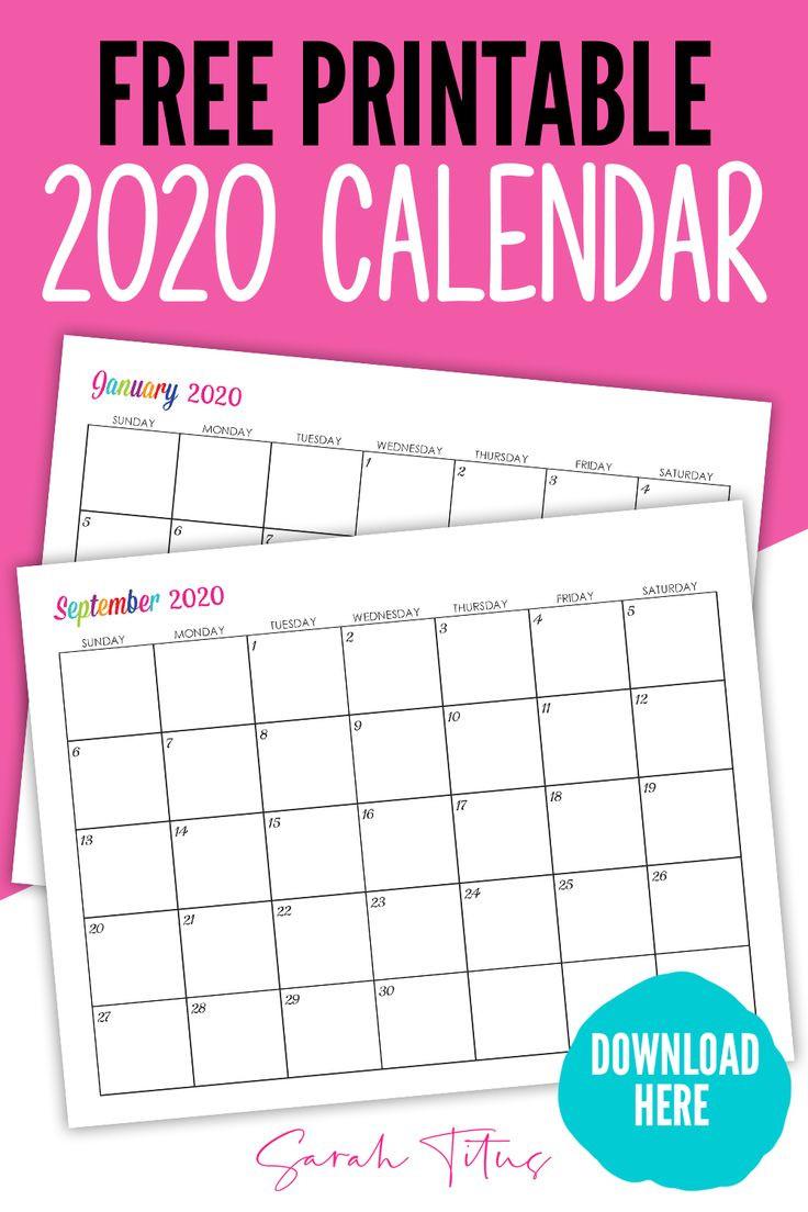 Custom Editable 2020 Free Printable Calendars | Free  Editable Monthly Calendar Printable