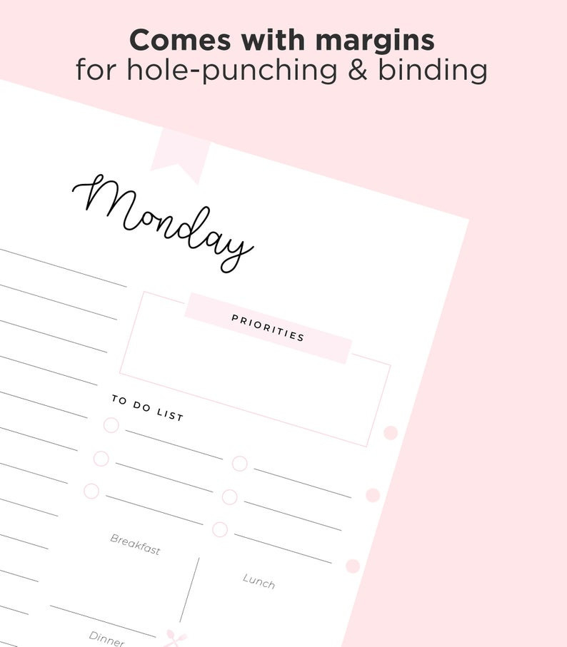 Daily Planner Printable 7 Day Planner Printable Planner | Etsy  7 Day Planner