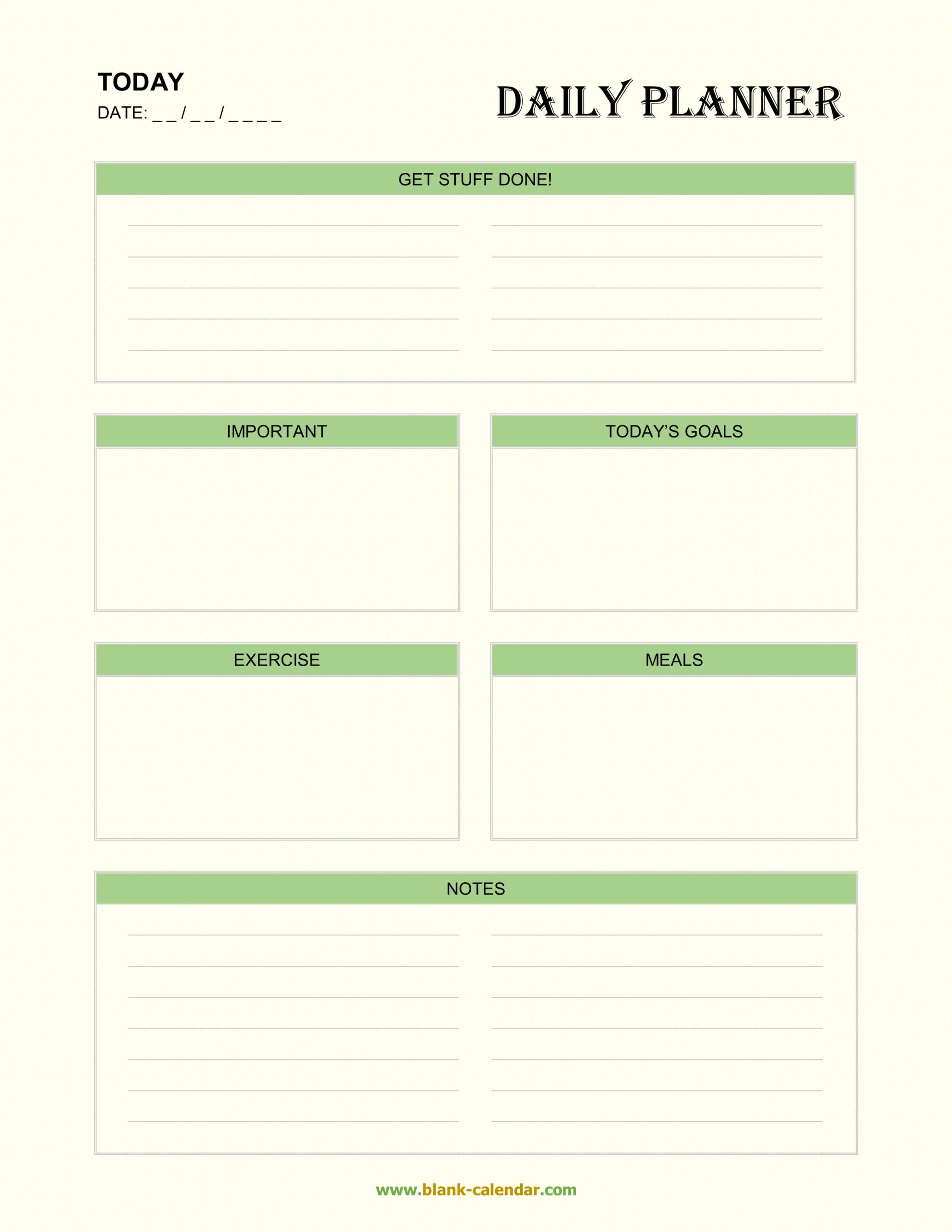 Daily Planner Templates (Word, Excel, Pdf)  Printable Editable Daily Schedule Template