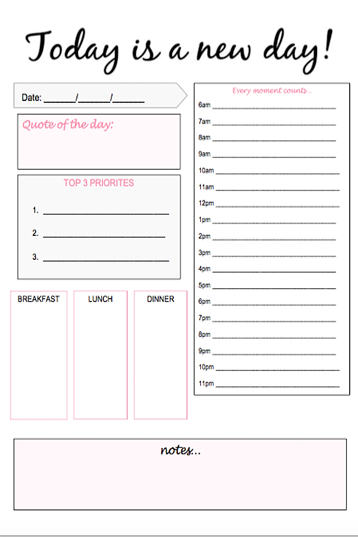 Daily Planning Sheet Pdf - Restaurant Survey  Editable Daily Planner Template