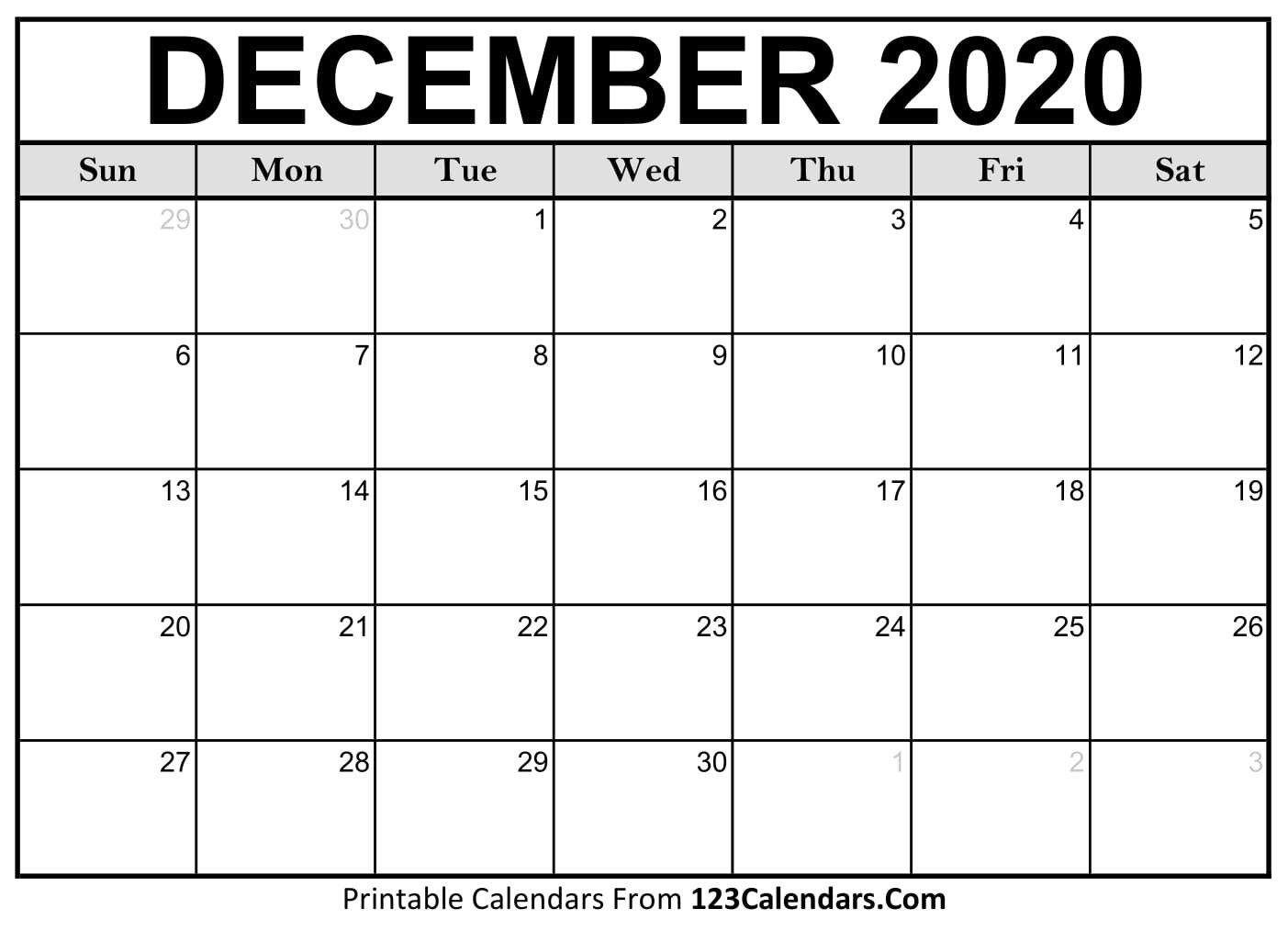 Dec 2020 Blank Calendars To Print Without Downloading  Free Printable Calendar Without Download
