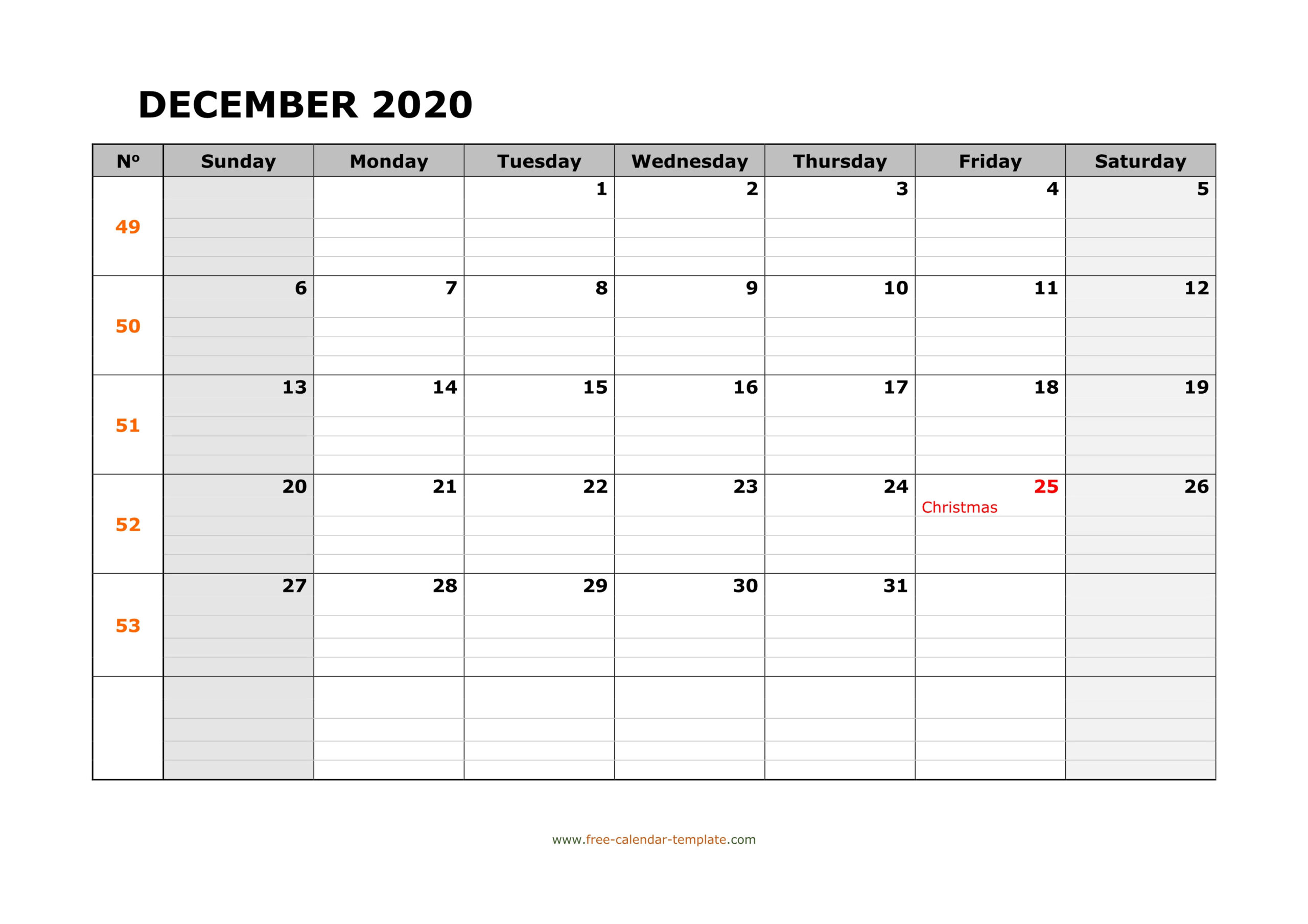 December 2020 Free Calendar Tempplate | Free-Calendar  Printable Word Calendar With Lines