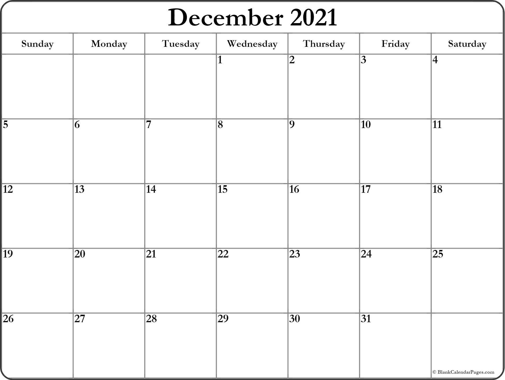 December 2021 Blank Calendar Templates.  Blank 2021 2021 Calendar Template