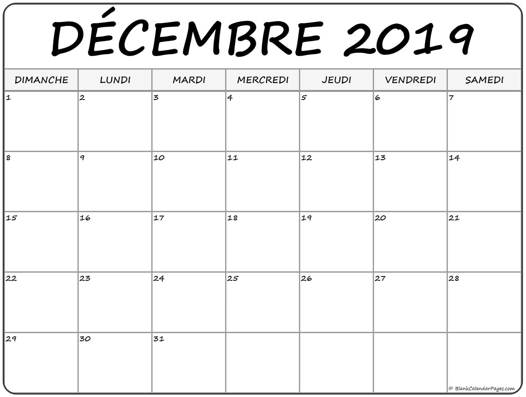 Décembre 2019 Calendrier Imprimable | Calendrier Gratuit  Mois De L'Année Telecharger Mensuel Gratuit