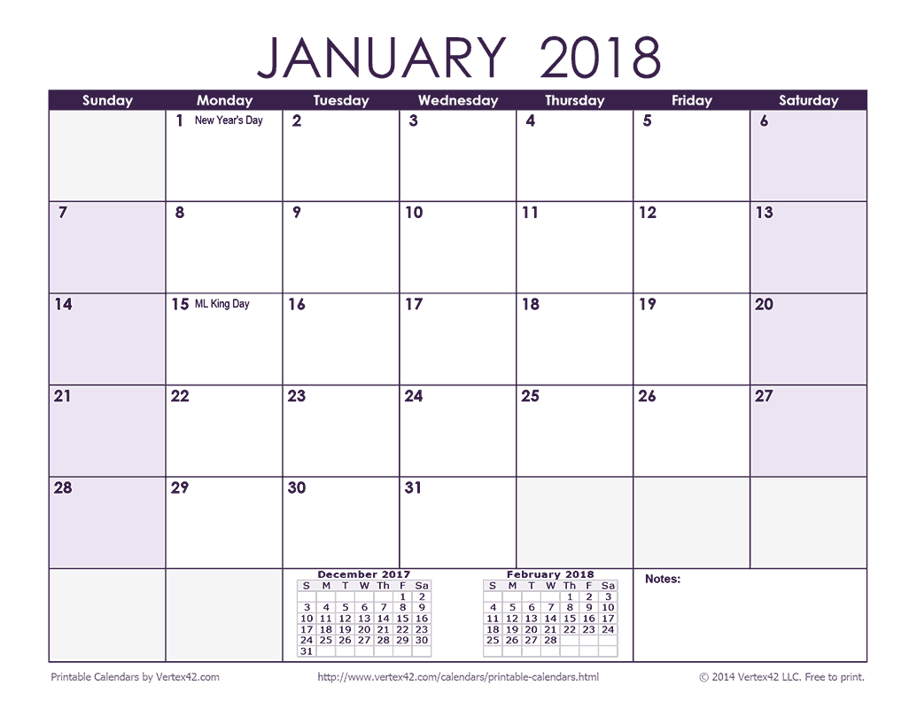 Download A Free 2018 Monthly Calendar - Purple From  Free Printable Event Calendar Template