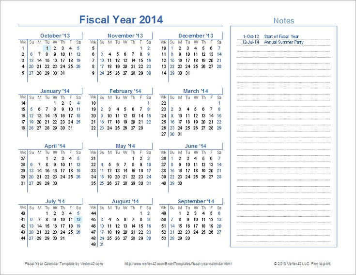 Download A Free Fiscal Year Calendar Template For Excel  Financial Year Calendar Excel