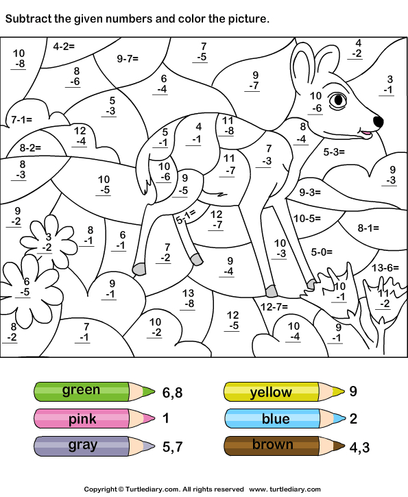 Download And Print Turtle Diary'S Subtract And Color  Colour Filling Page For Grade R