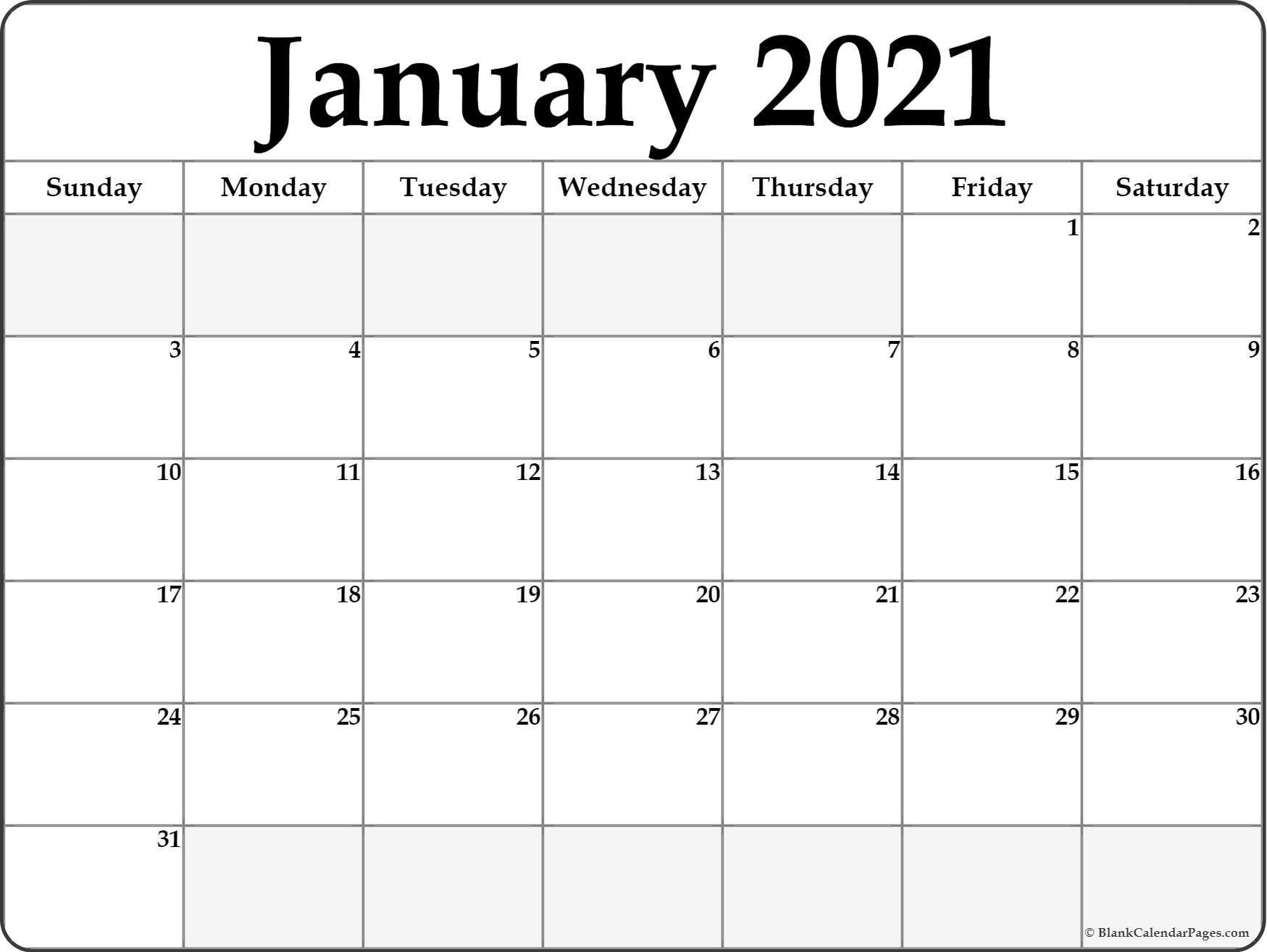 Download Calendar January 2021 / List Of Free Printable  Word January 2021 Template
