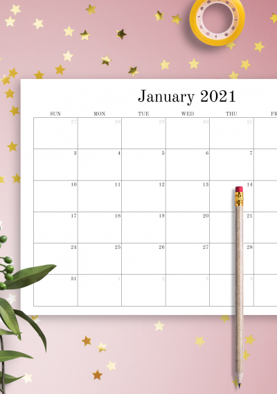 Download Printable Blank Monthly Calendar Pdf  Monthly Calendar Template
