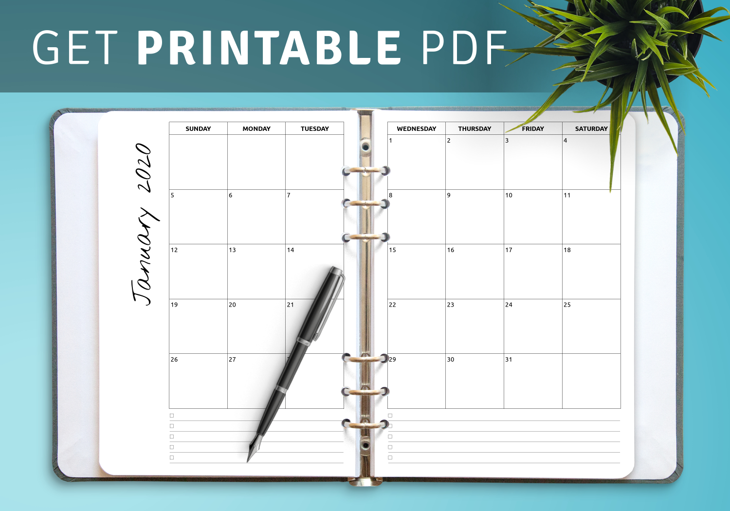 Download Printable Monthly Calendar With Notes Pdf  Monthly Calendar Template