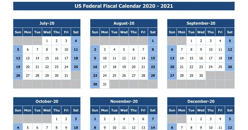 Download Us Federal Fiscal Calendar 2020-21 Excel Template  Financial Year Calendar Excel