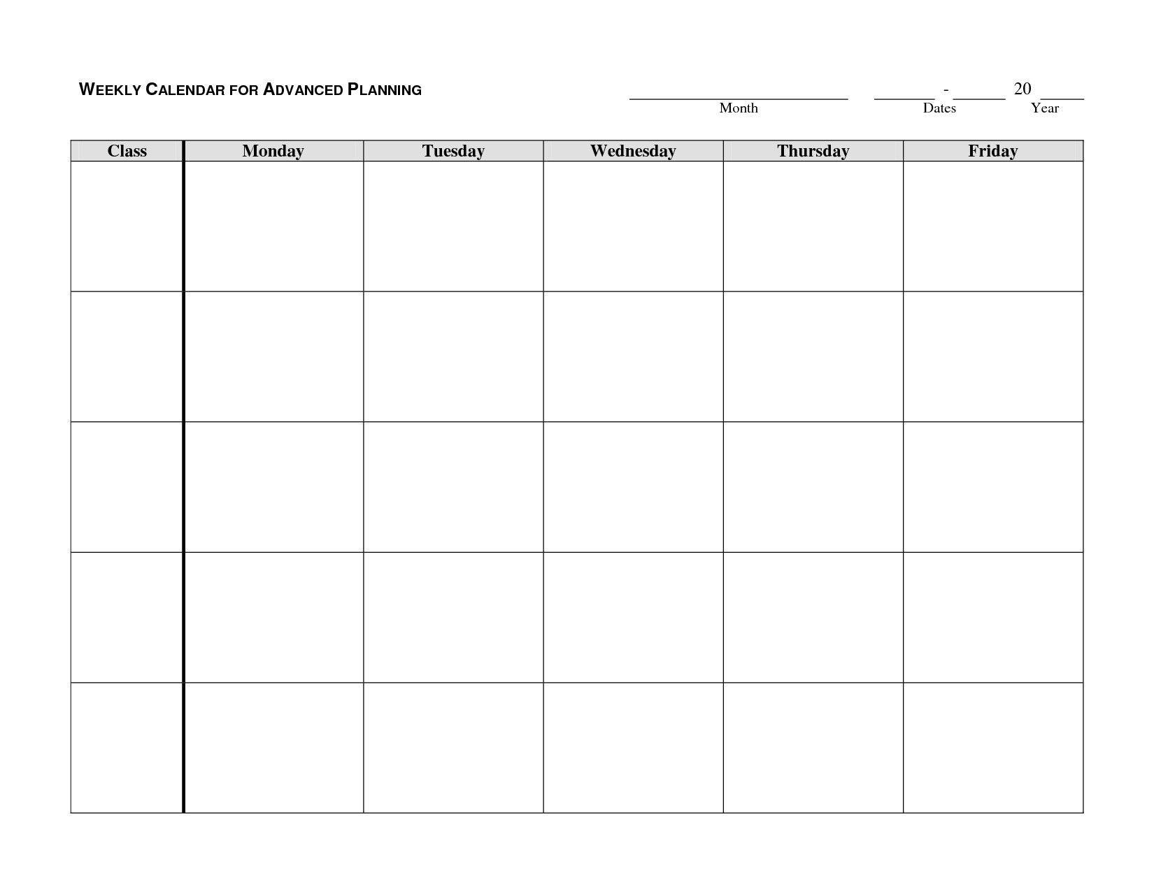 Downloadable Monday Thru Friday Calendar Template  Monday Through Friday Schedule