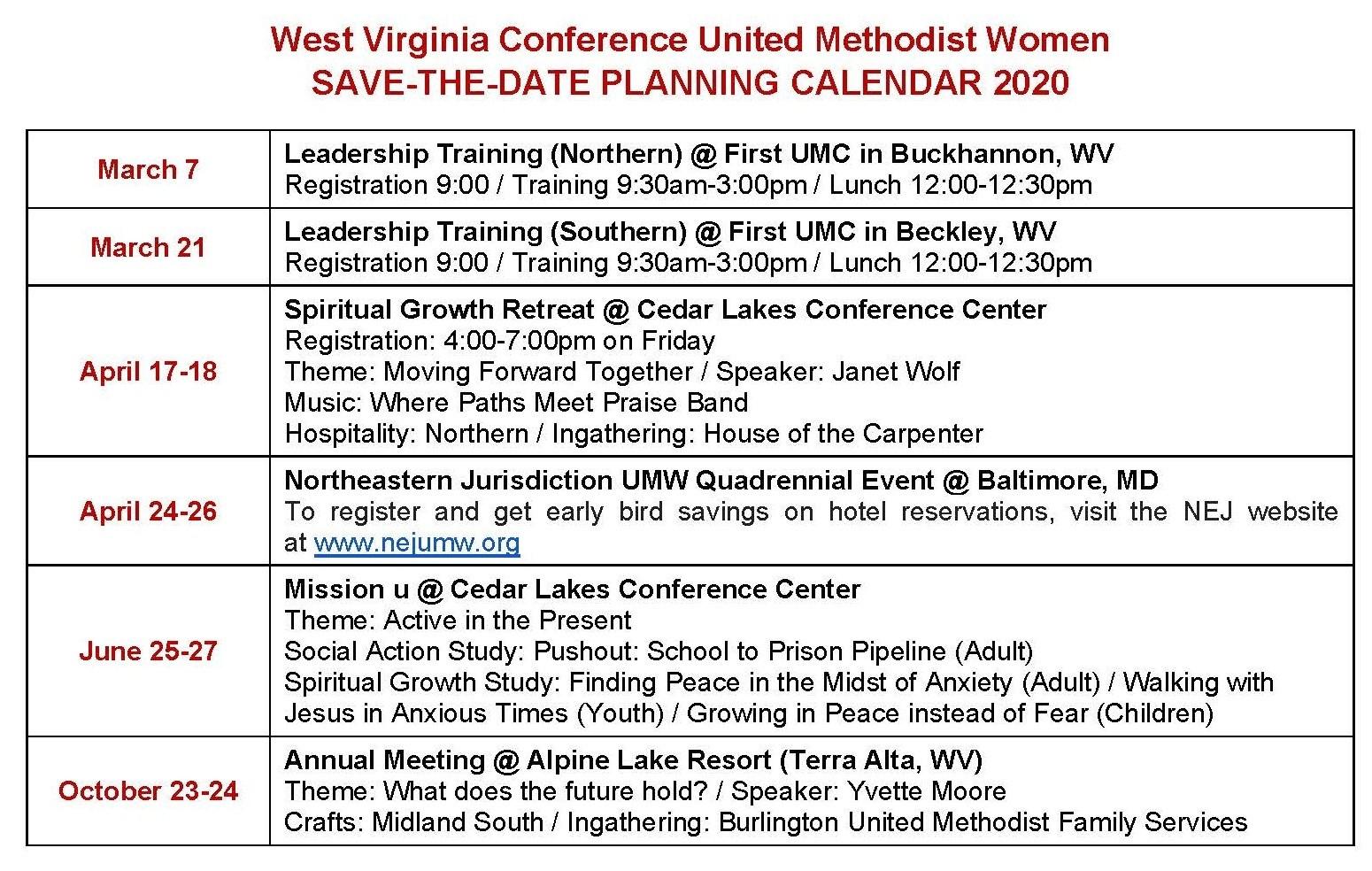 Downloadable Umc Liturgical Calendar 2020 - Calendar  Methodist Church Lectionary