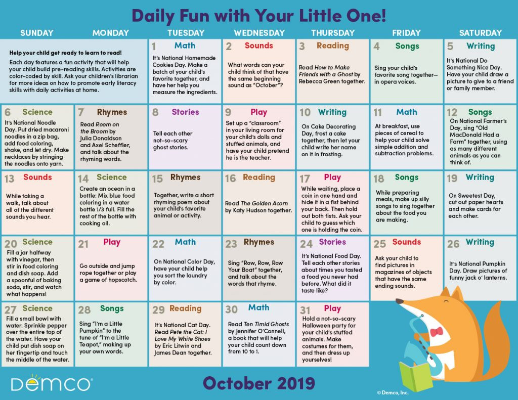 Early Literacy Activity Calendar: October 2019  Toddleer Calendar Daily Activties For June July August