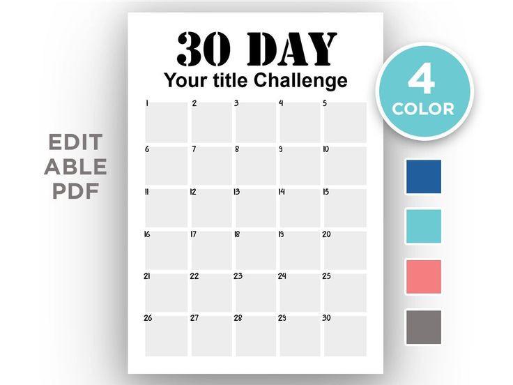 Editable | 30 Day Challenge Tracker | Pdf | Planner Insert  Seven Day Editable Planner