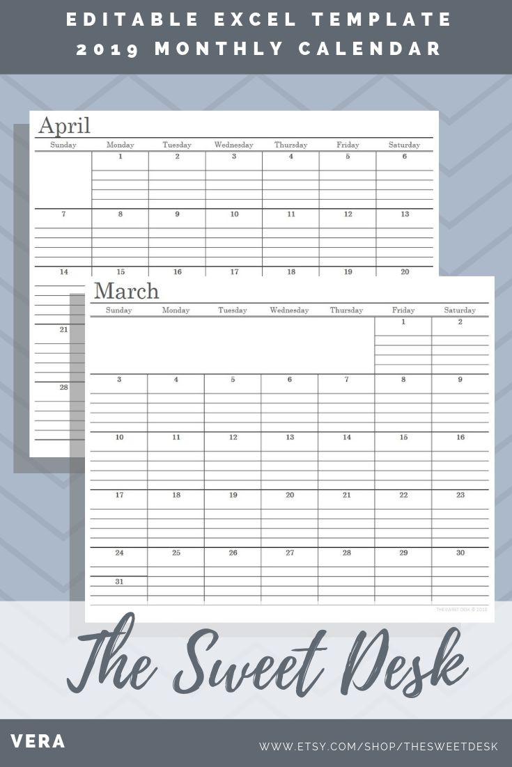 Editable Calendar 2019, Printable Excel Calendar Template  Seven Day Editable Planner
