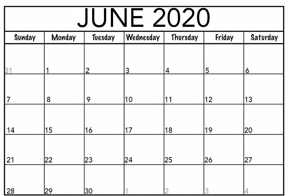 Editable Calendar June 2020 In 2020 | Monthly Calendar  Editable Monthly Calendar Printable