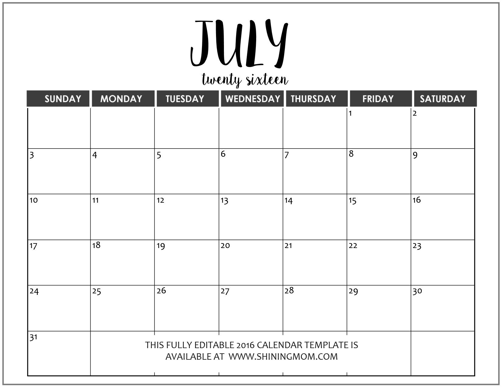 Editable Calendar Template | Calendar Printables Free  Free 12 Month Editable Calendars