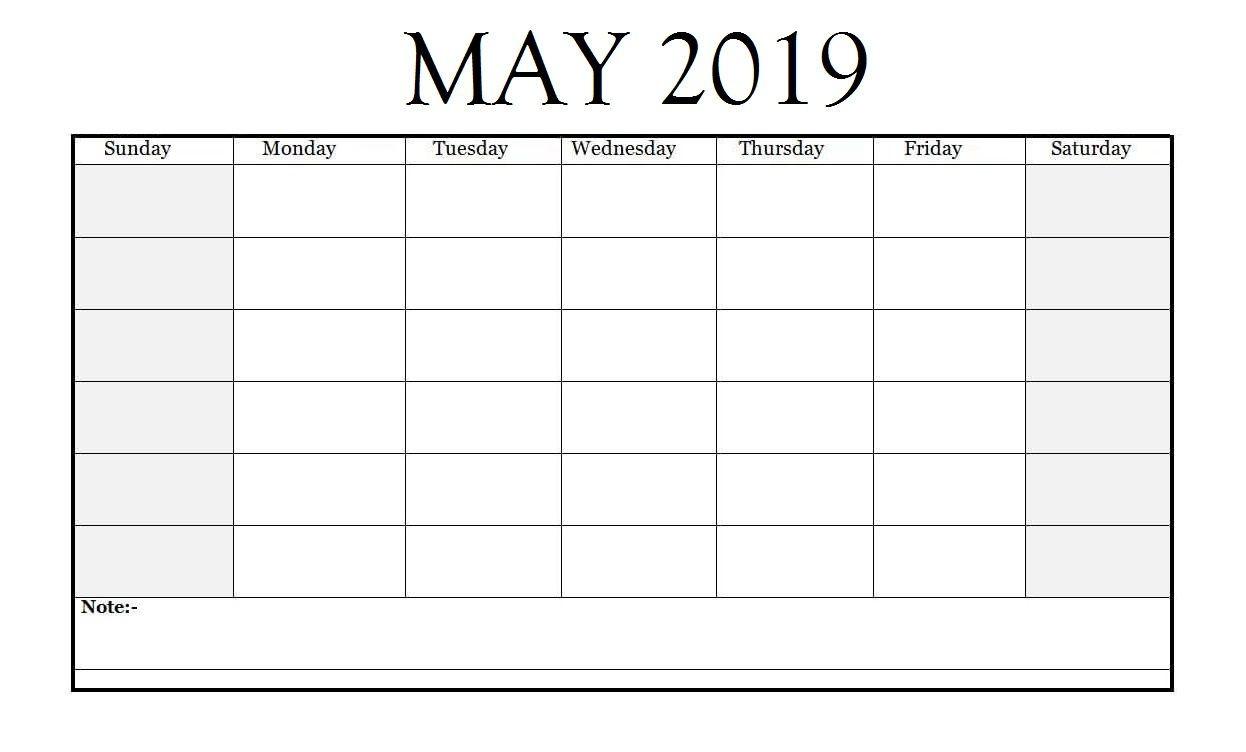 Editable May 2019 Calendar | Monthly Calendar Template  Free Printable Blank Monthly Calendar Templates Editable