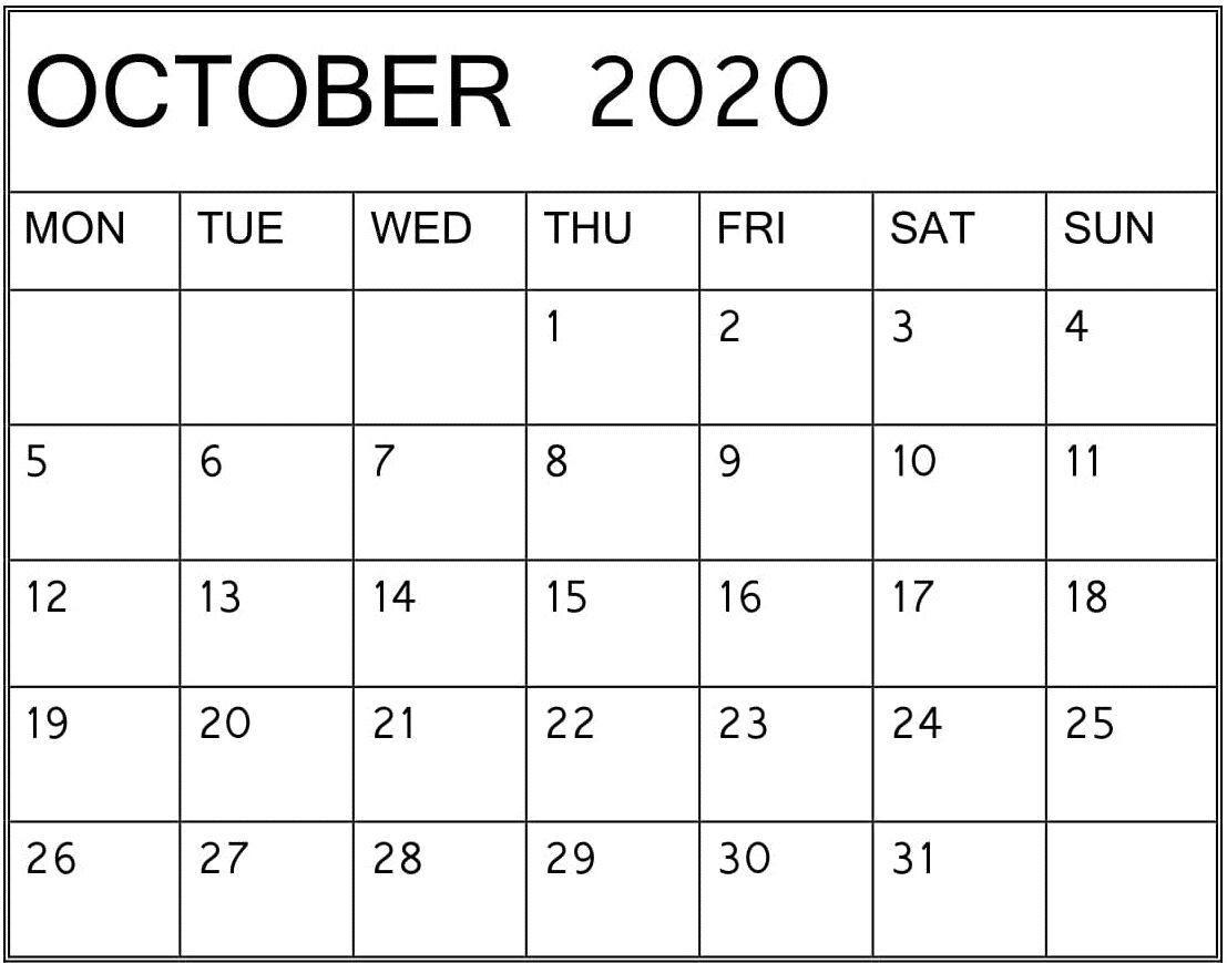 Editable October 2020 Calendar Word, #Calendar #  Printable Word Calendar With Lines