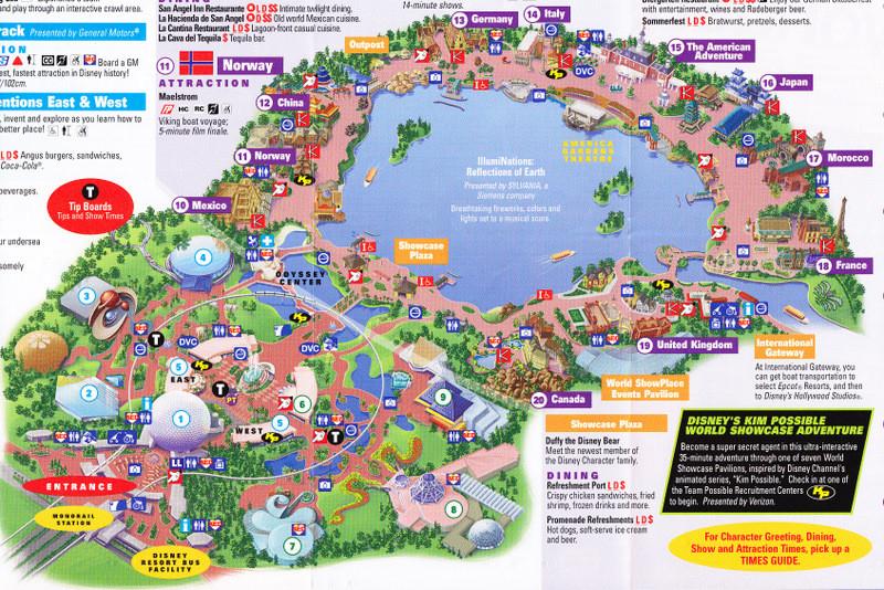 Epcot At Walt Disney World - 2011 Park Map  Disney World Attractions List Pdf