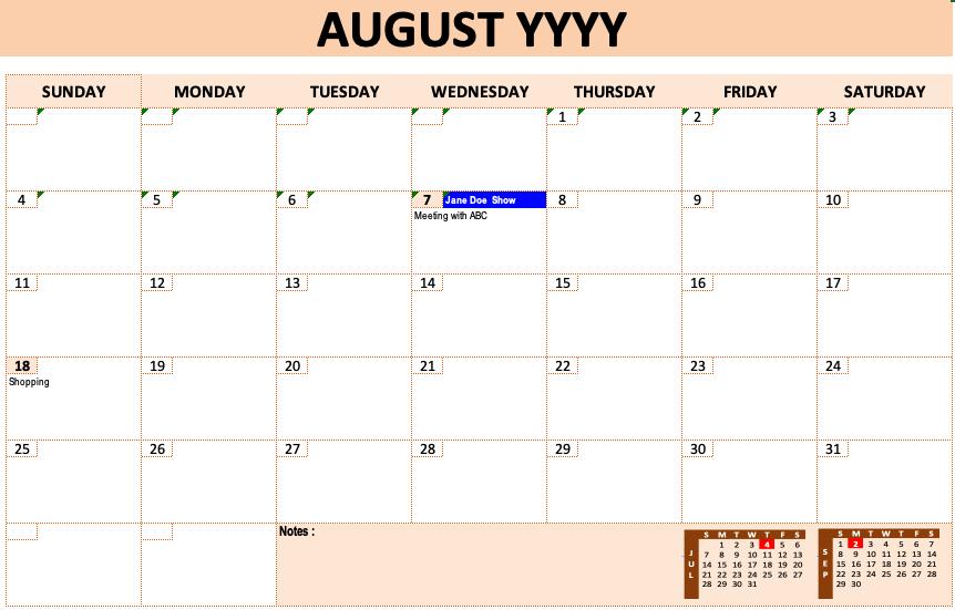 Event Calendar Template » Exceltemplate  Free Printable Event Calendar Template