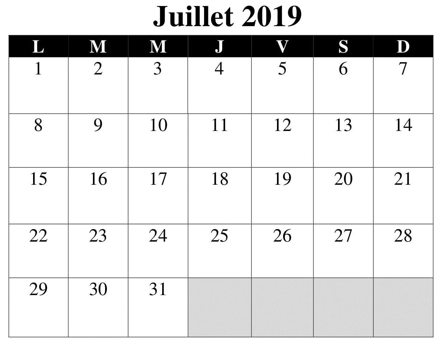 Excel Calendrier Juillet 2019 #Gratuit #Mensuel #Mois #  Mois De L'Année Telecharger Mensuel Gratuit