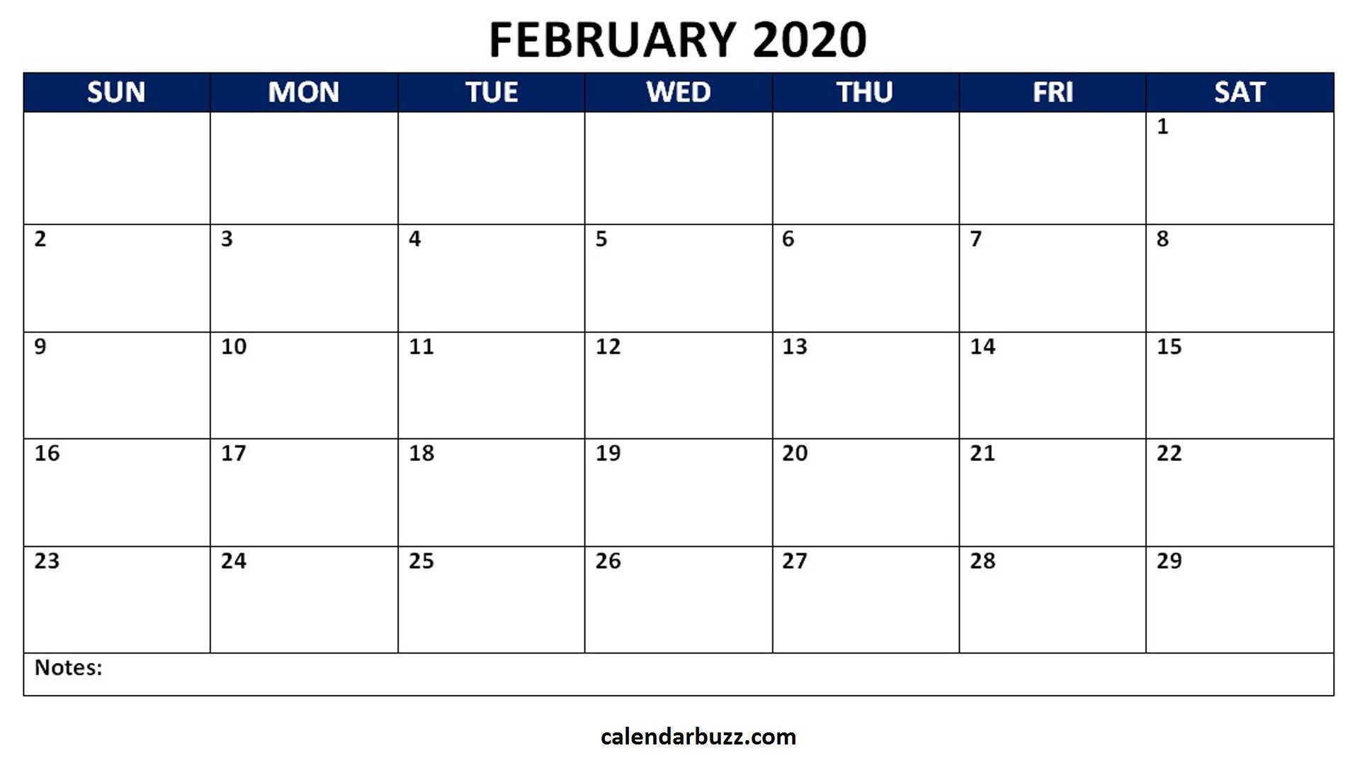 February 2020 Blank Calendar Word Template | Word Template  3 Month Calendar Template For Word