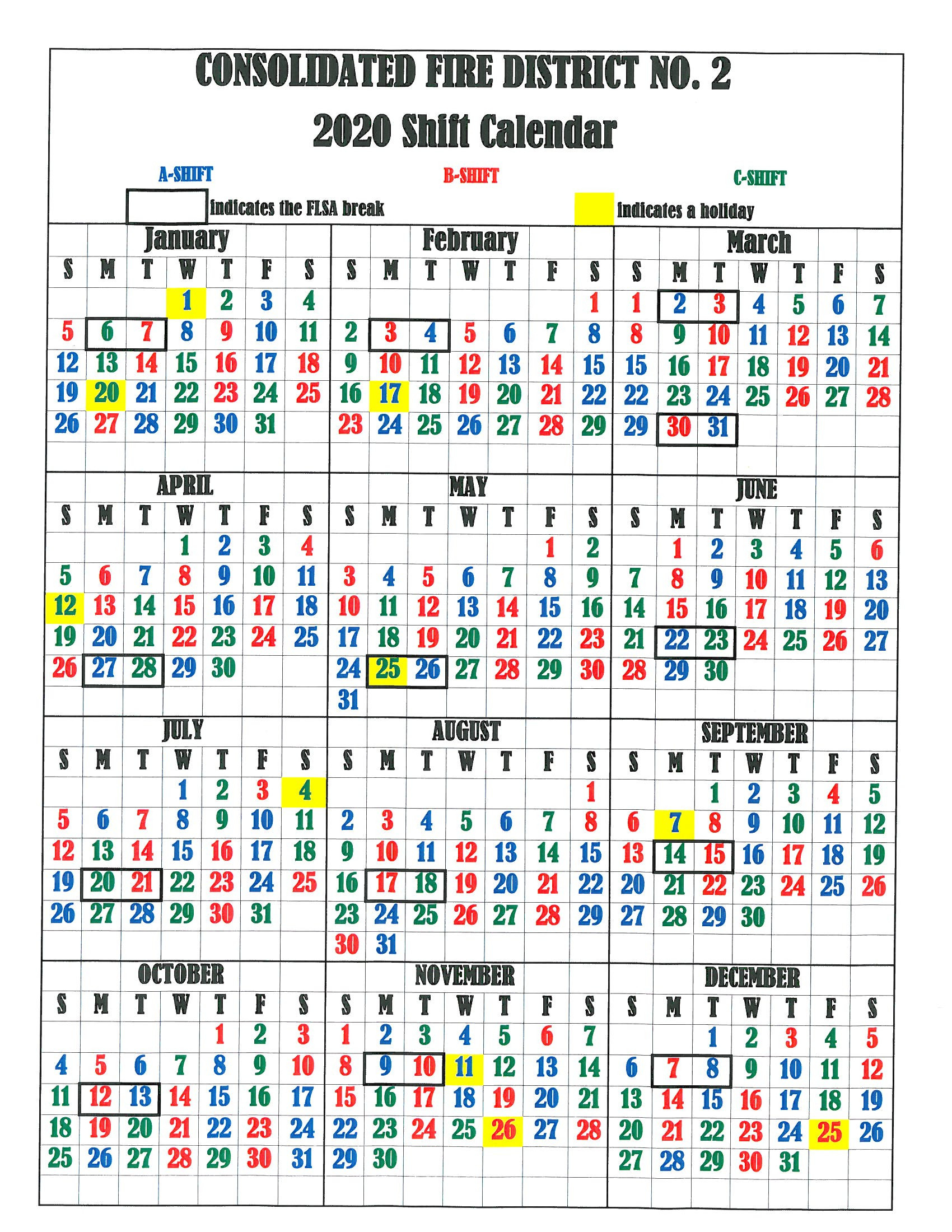 Firefighter Shift Calendar 2020 Printable | Example  Fdny Shift Schedule