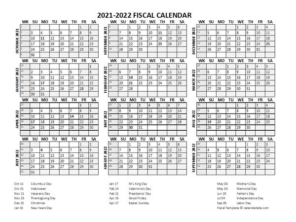 Fiscal Calendar 2021-22 Templates - Free Printable Templates  2021 Fiscal Year Julian Calendar