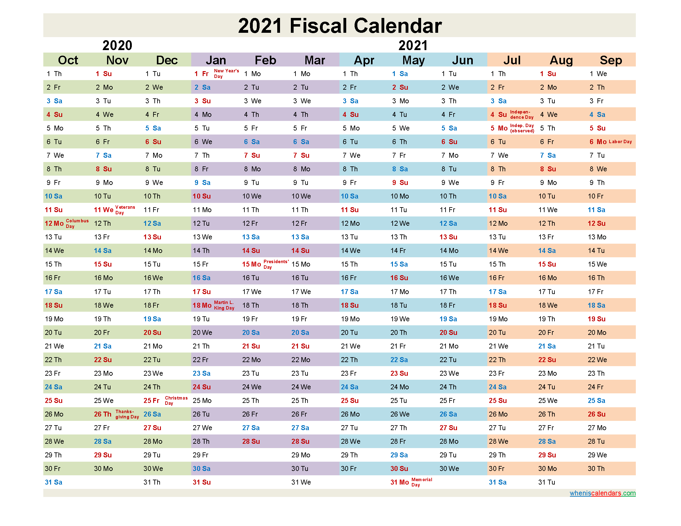 Fiscal Month Calendar 2021 - Template No.fiscal21Y24  Financial Year Dates 2021 2021