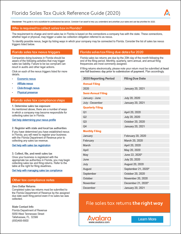 Florida Sales Tax Calendar 2021 | Printable March  Tax Calendar 2021