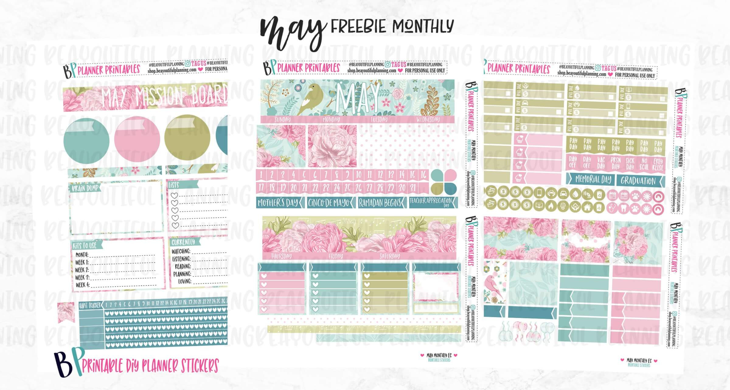 Four (4!) Freebies: Printable May Planner Stickers, Hope  Printable Planner Stickers Numbers 1 To 31